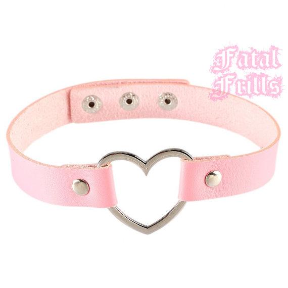 Pink Leather Heart Choker Collar Kawaii Punk Pastel Goth 90s Adjustable O-Ring Necklace Vegan