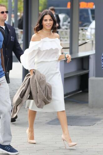 blouse jenna dewan white white top white dress midi skirt off the shoulder