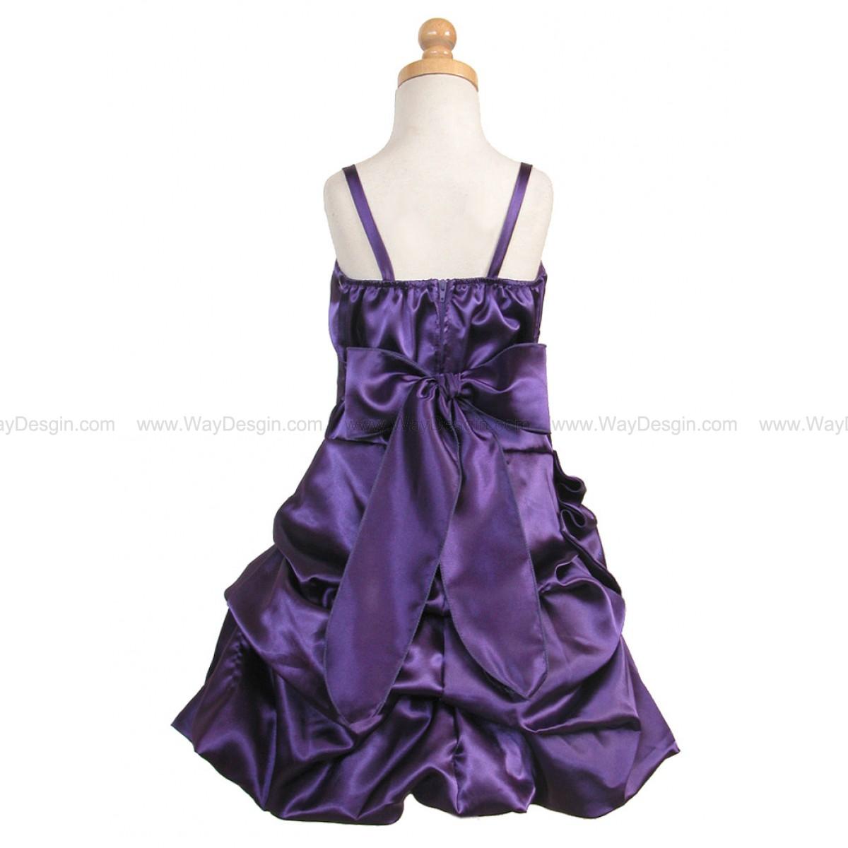 Purple Satin Bubble Dress Gathered Flower & Shawl
