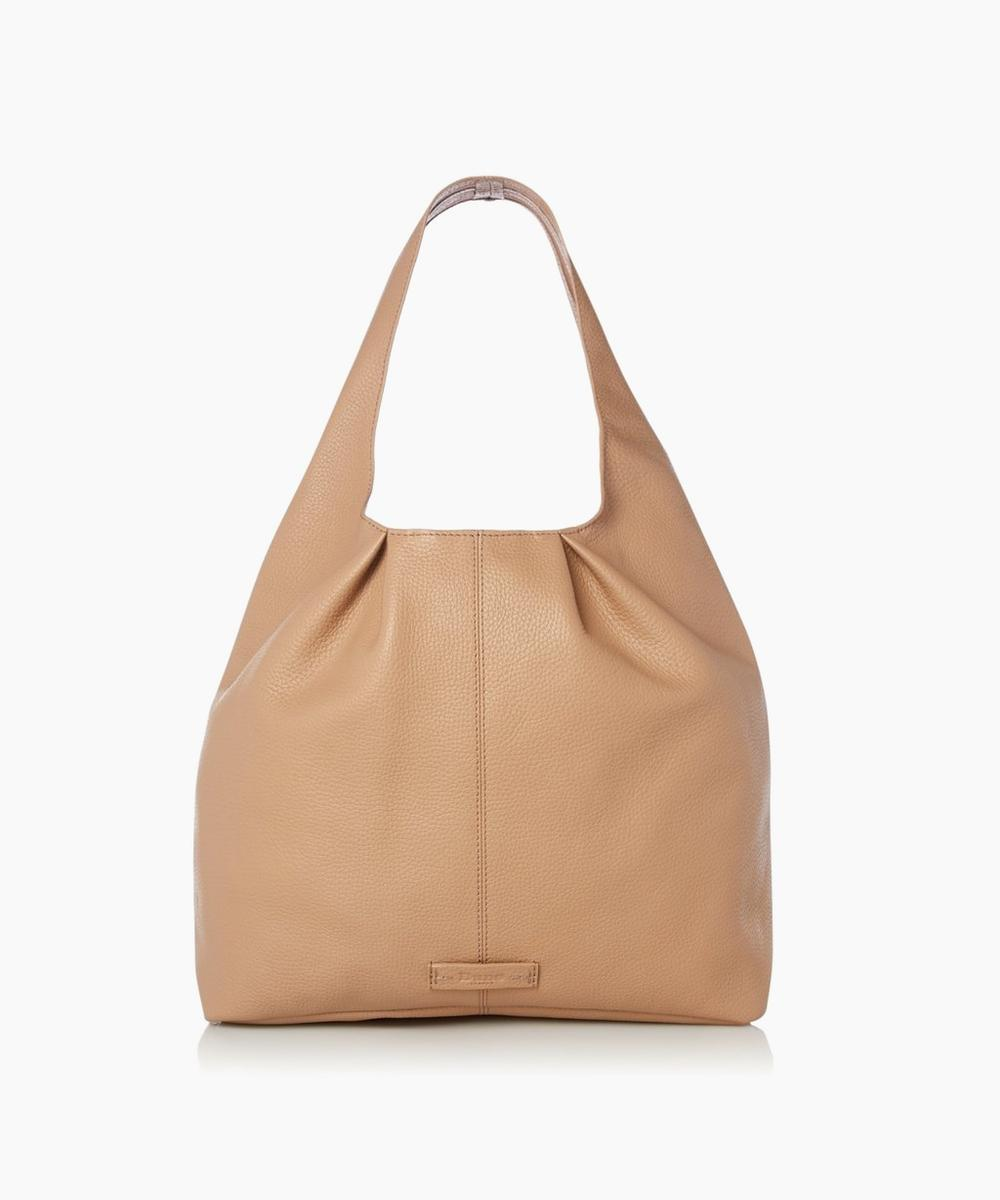DASHIING - Leather Seam Detail Slouch Bag - camel | Dune London