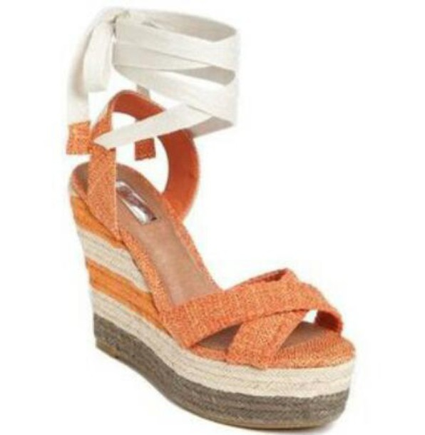 shoes orange wedges