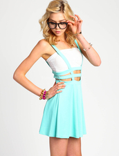 skirt,suspenders,arnes,skirt with suspenders,pastel skirt,pastel,pastel color,pastel blue,mint,mit blue,lattice,pastel goth,kawaii,double cage,cage,cage skirt,Edgy Dresses,edgy,sunglasses,jewels,underwear,dress,kawaii dress,pastel dress