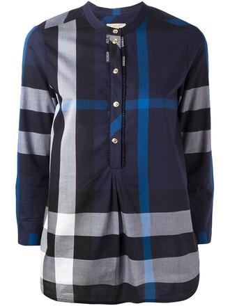 blouse plaid blue top