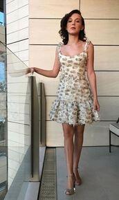 dress,sandals,millie bobby brown,instagram,mini dress,beaded dress,embellished dress,shoes