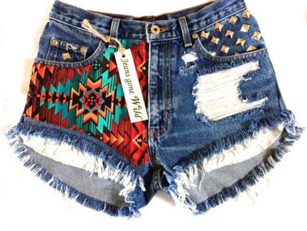 shorts High waisted shorts aztec print shorts