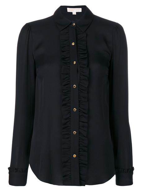Michael Michael Kors - frilled placket semi-sheer shirt - women - Silk/Cotton - 12, Black, Silk/Cotton