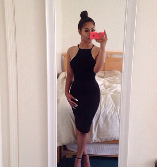 dress little black dress clothes black dresses halter top sleeveless black midi skirt