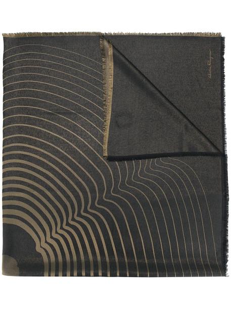 Salvatore Ferragamo women scarf print black silk wool