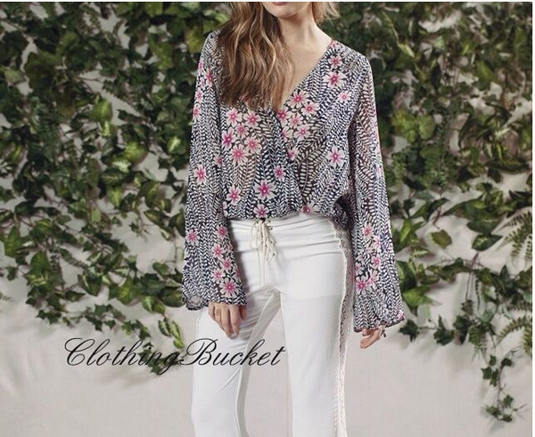 blouse vintage boho bohemian flora print flowers pink blouse gray blouse long sleeve top long sleeve blouse plunging plunge neckline