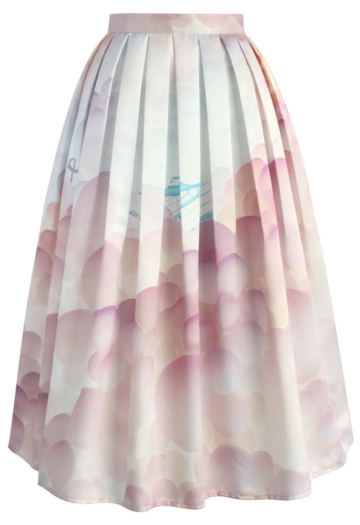 balloon my day printed midi skirt retro and