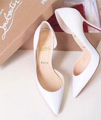 shoes christin louboutin loubs white