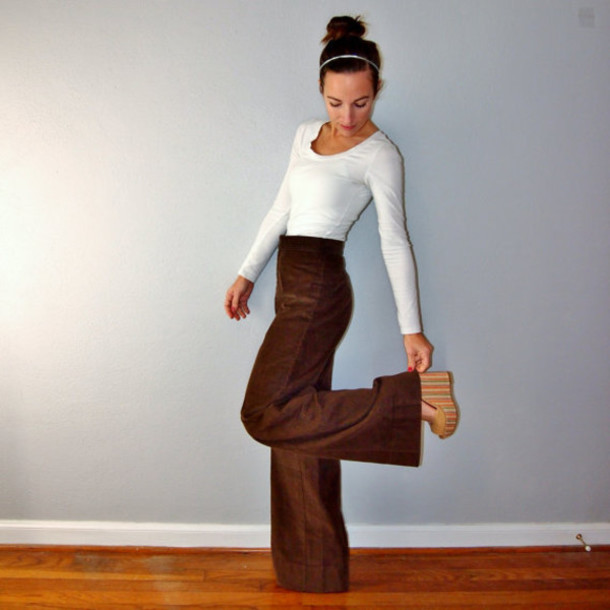 bell bottoms 70s style high waisted brown