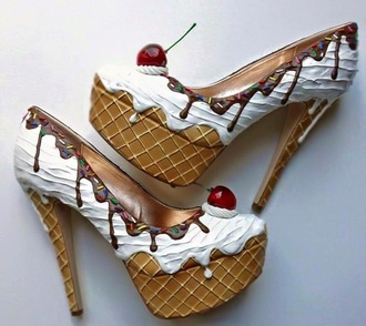 shoes heels high heels ice cream cream chocolate cherry bakery trendy suede shoes girl fashion pop art platform high heels cute high heels chic high heel pumps stilettos platform pumps
