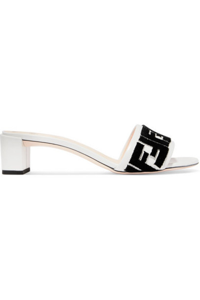 Fendi - Logo-flocked Velvet And Leather Mules - White