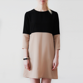 dress simple dress simplicity simplicityblack shift dress short usa short dress architectural architects minimalist minimalism spring black dress black bej dress longsleeved dress long sleeve