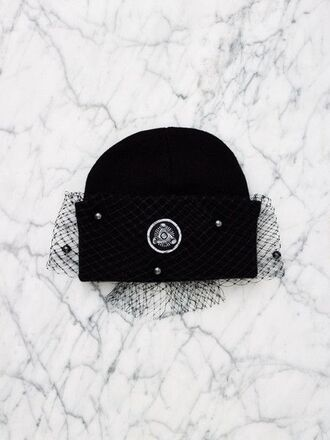 hair accessory silver spoon attire hat black beanie beanie black hat winter swag veil embellished