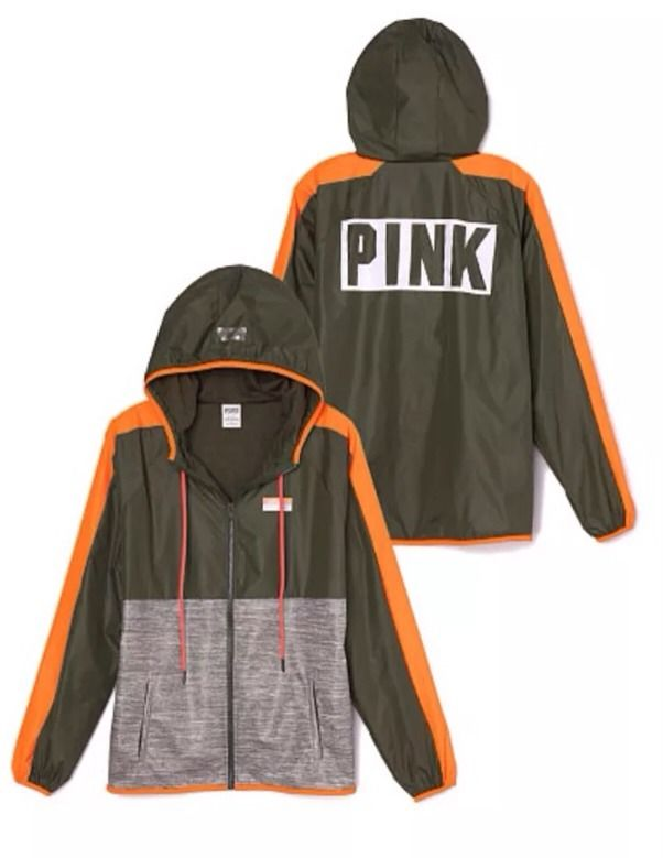 9d2b618067a8e Victoria's Secret Pink Anorak Windbreaker Hoodie Jacket M/L NWT Olive Marl  Logo