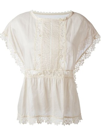 blouse lace nude top