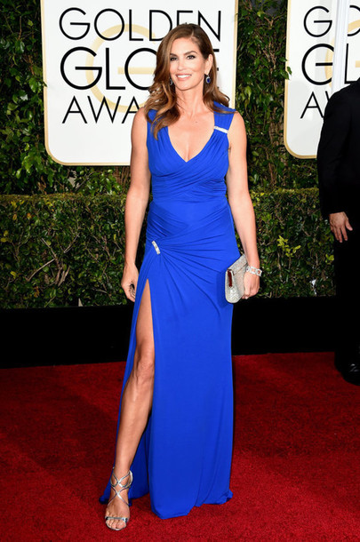 dress cindy crawford red carpet dress versace slit dress blue dress Golden Globes 2015