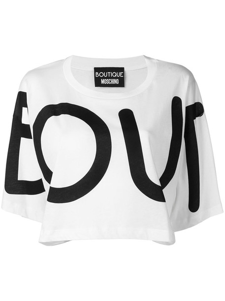 BOUTIQUE MOSCHINO t-shirt shirt printed t-shirt t-shirt cropped women white cotton top