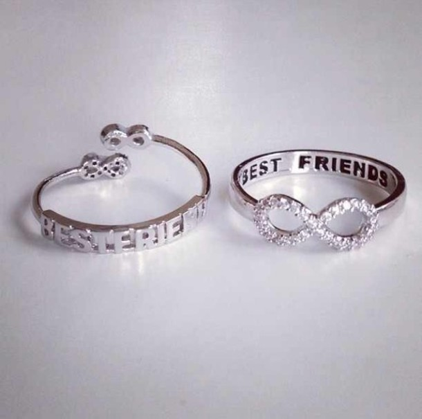 jewels ring silver silver ring bff best friends