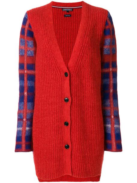 Tommy hilfiger cardigan cardigan women mohair wool tartan red sweater