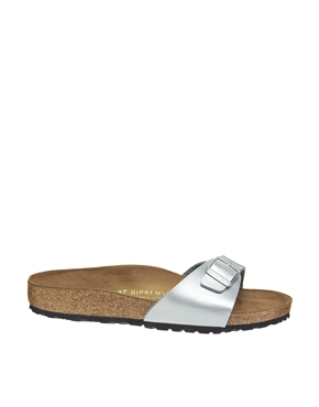 Birkenstock | Birkenstock Silver Madrid Flat Sandals at ASOS