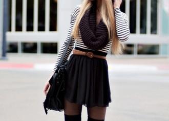 skirt striped shirt scarf black white black skirt black scarf tights purse striped skirt knee high socks belt long sleeves