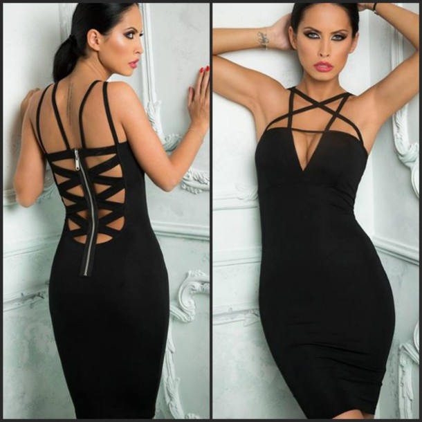 2433ff42bc dress black lace up strappy strappy dress black dress little black dress  bodycon bodycon dress sexy