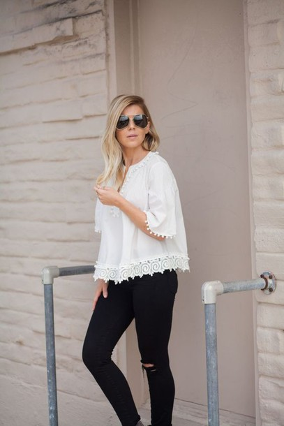 Top: skinny jeans, derek lam top, white top, white lace top, black ...