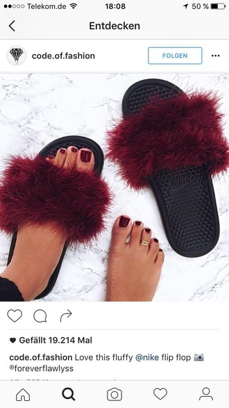 shoes nike slide shoes fur fluffy nike slides