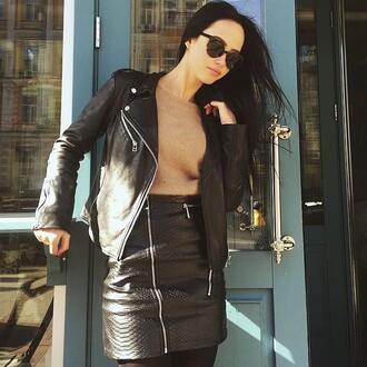 skirt maniere de voir leather skirt snake embossed snake zips zipper skirt