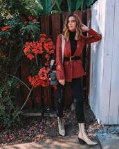 take aim,blogger,jacket,jeans,shoes,bag,blazer,fall outfits,red jacket