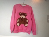 teddy bear,pink,bear,sweater,pullover,brown,white,black,colthes,etsy,etsy.com,80s style,vintage
