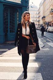 coat,tumblr,black coat,skirt,mini skirt,shirt,white shirt,tights,black tights,boots,black boots,over the knee boots,bag,gucci,gucci bag,dionysus
