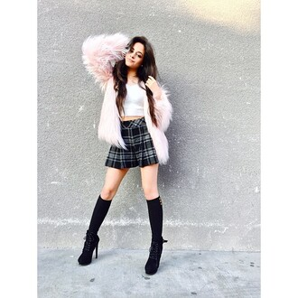 fur coat pink skirt camila cabello