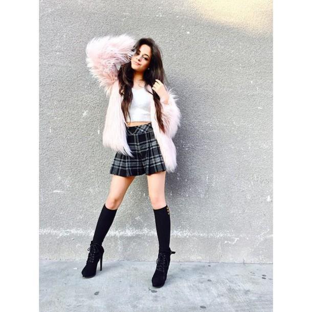 fur coat pink skirt camila cabello
