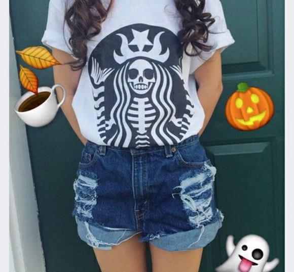 t-shirt halloween skull t-shirt starbucks tops