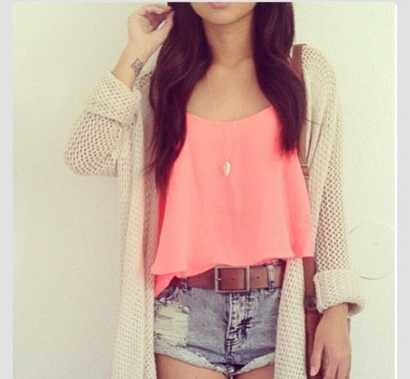 coral shirt blouse cardigan shorts whole outfit.. sweater