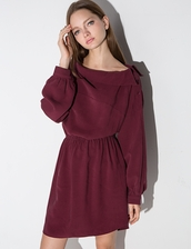 dress,burgundy off the shoulder shirt dress,cute dress,off the shoulder dress,off the shoulder shirt dress,shirt dress,pixiemarket,girly floral dress,special occasion dress,burgundy,girly dress,girly outfits tumblr