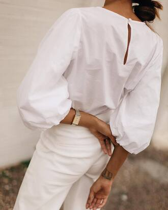 top white top pants white pants jewelry gold jewelry jewels