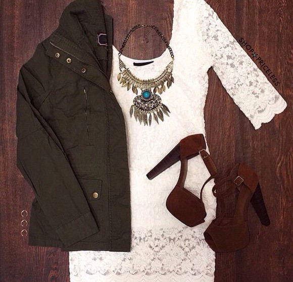 necklace shoes dress white dress lace dress jacket fall outfits outfit