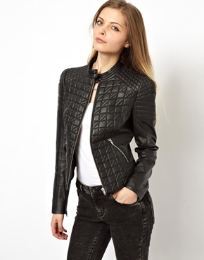 Asos leather jacket in quilt structured shoulder at asos