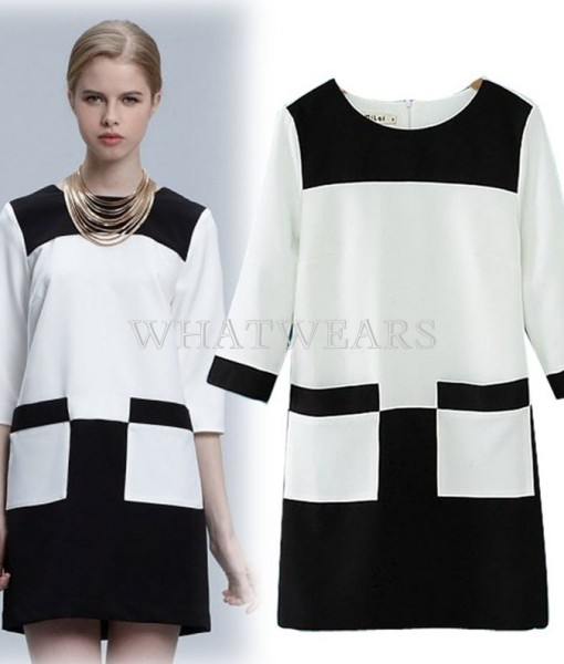 Free Shipping Fashion Womens Classic Black And White Contrast Color Round Collar Dress M/L [5 70-3870] | Amazing Shoes UK
