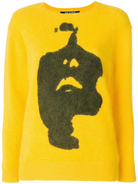 neil barrett jumper women print yellow orange sweater