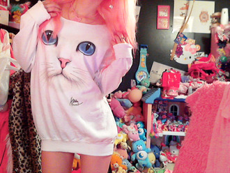 dress sweater hello kitty cats oversized sweater cat eye white shirt white sweater pastel goth pastel pink cute kawaii