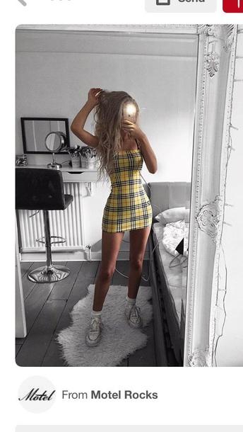 dress checkered short yellow dress plaid bodycon dress summer summer dress yellow plaid dress yellow pattern bodycon chequer dress mini dress chequered dress
