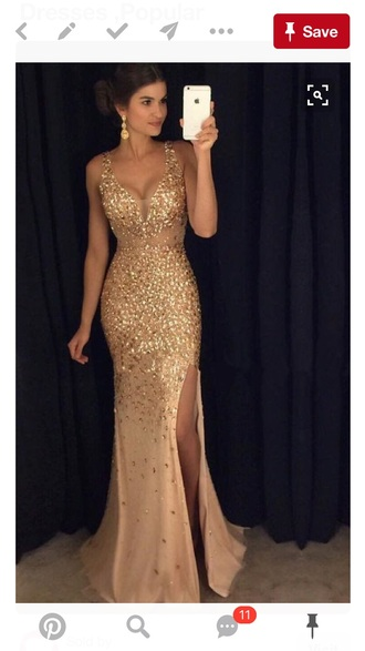 dress gold prom dress gold dress long dress gown champagne sparkly dress ball gown dress seqin long prom dress sparkle mermaid crystal mermaid prom dress front splits promdresssparkly dressofgirl champagne dress slit dress