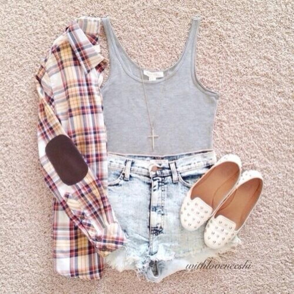 shorts denim shorts shoes studded shoes croptops vintage fashion vibe plaid shirt