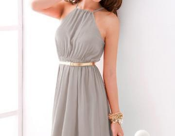 Elegant Sleeveless High Waist Dress For Lady - Light Grey on Luulla